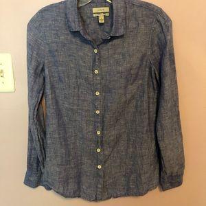 J. Crew Blue Linen Button-Up Shirt 00